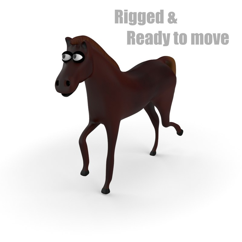cartoon horse rigged 3d model