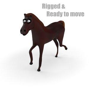 cartoon horse rigged 3d model