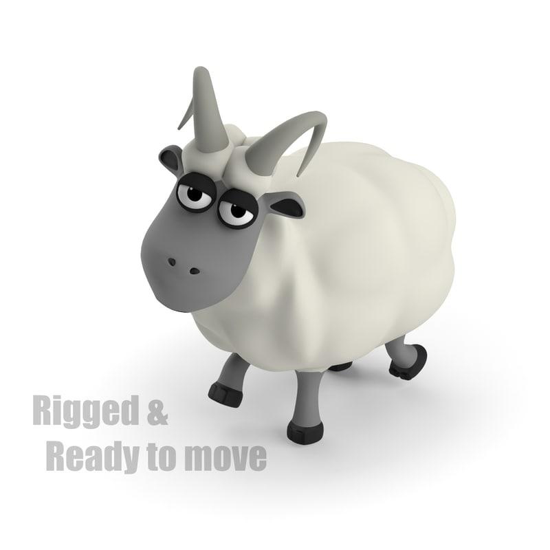 cartoon ram rigged max