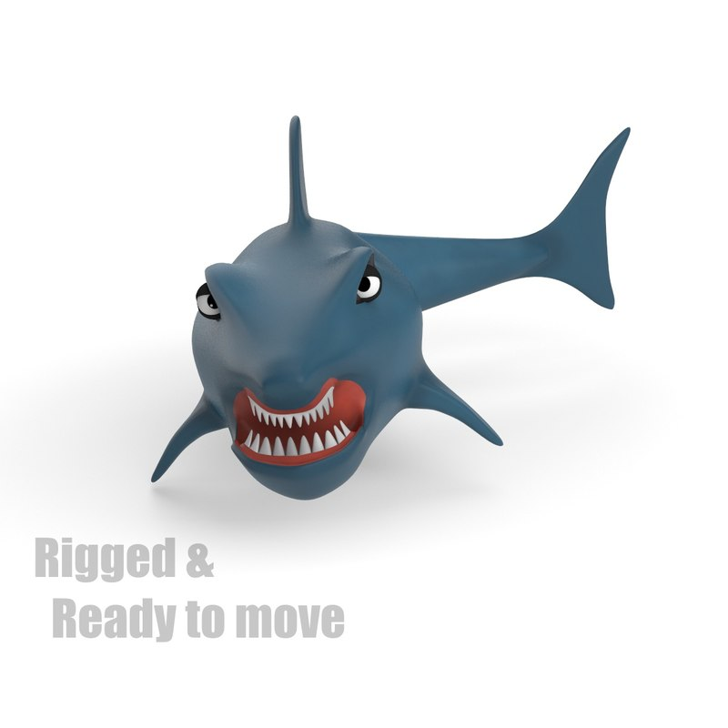 cartoon shark rigged 3d dxf