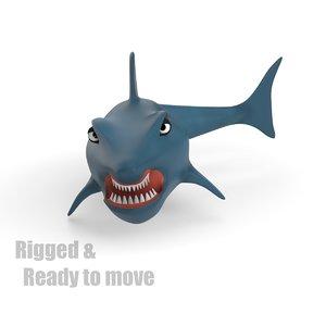 cartoon shark rigged 3d dxf