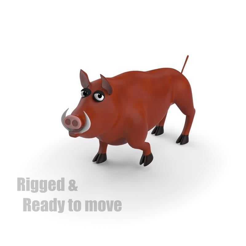 3dsmax cartoon wild boar rigged