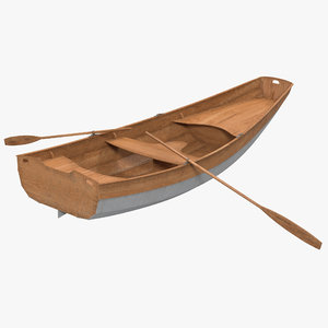 rowing boat 2 modeled 3d model
