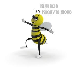 3d model cartoon bee rigged