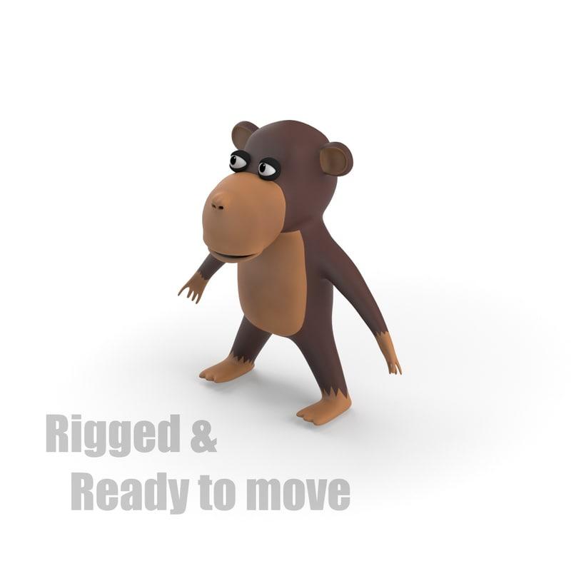 3d cartoon monkey rigged