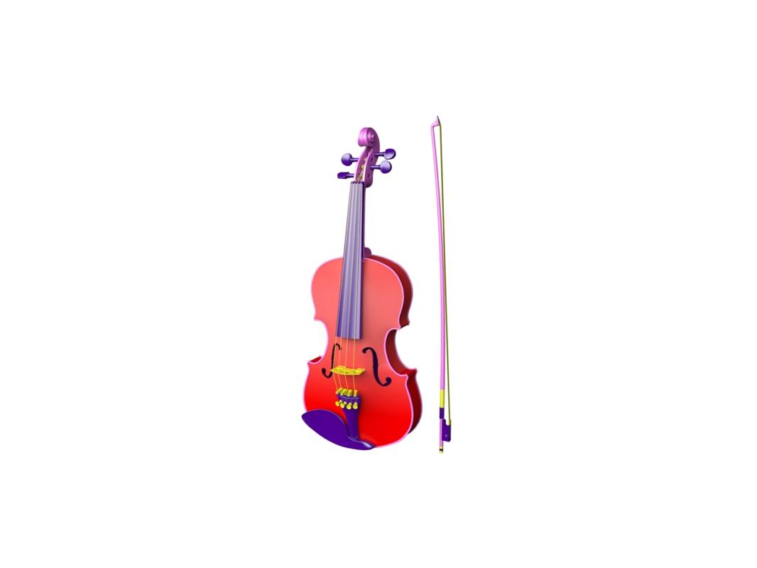 cartoon violin 3d obj