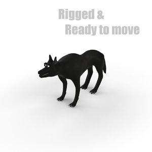 3d cartoon wolf rigged model
