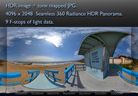 CLOSE VIEW OF A LIFEGUARD STATION ON A SANDY PACIFIC BEACH, 360 PANORAMA #051
