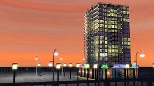 3d model flats apartments building