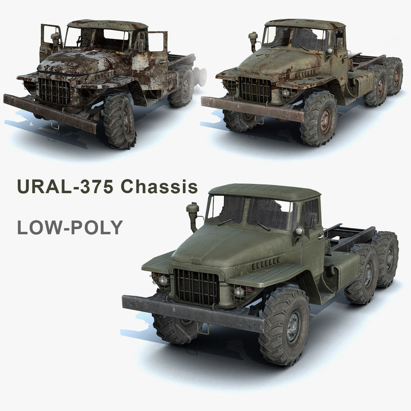 set heavy truck ural-375 obj