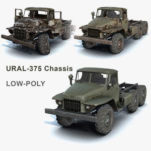 set heavy truck ural-375 obj