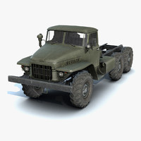 low-poly ural-375 chassis 3d model