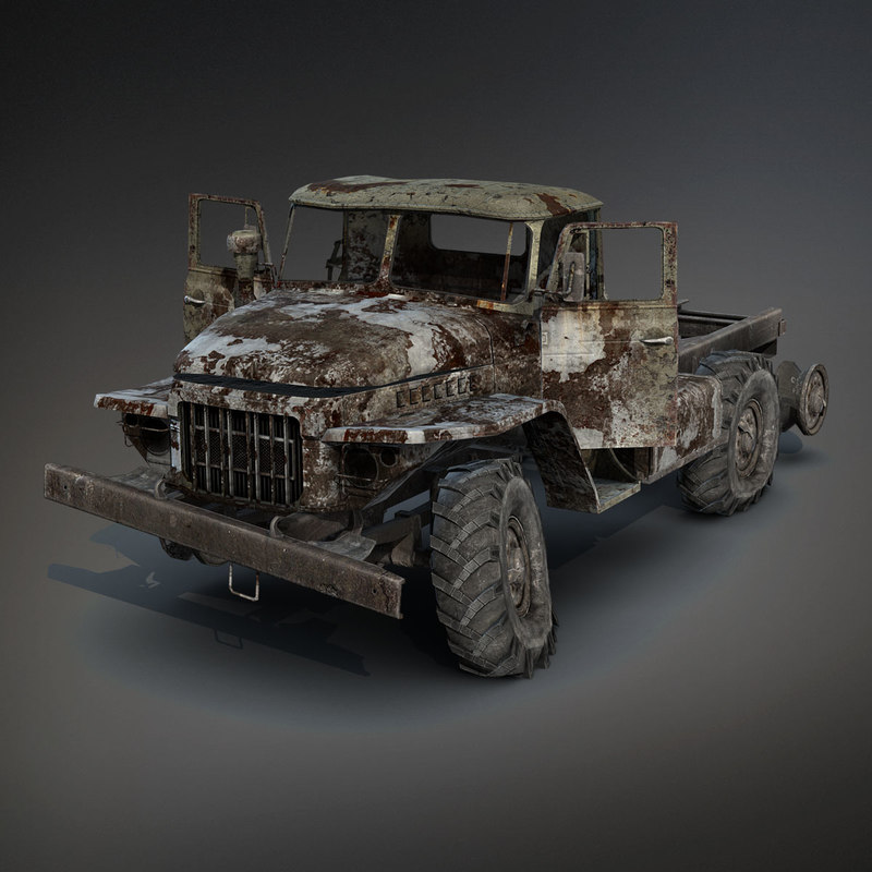low-poly ural-375 chassis burnt 3d 3ds