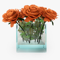 rose orange 3d model