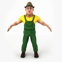 laborer cartoon man 3ds