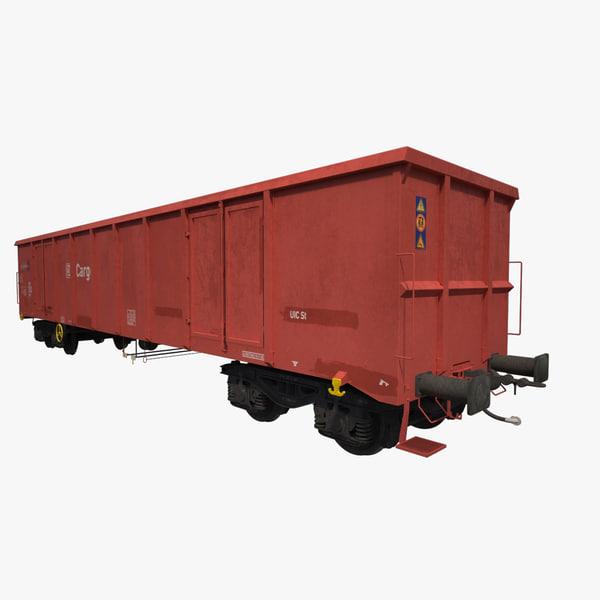 open-top box railcar eanos 3d max