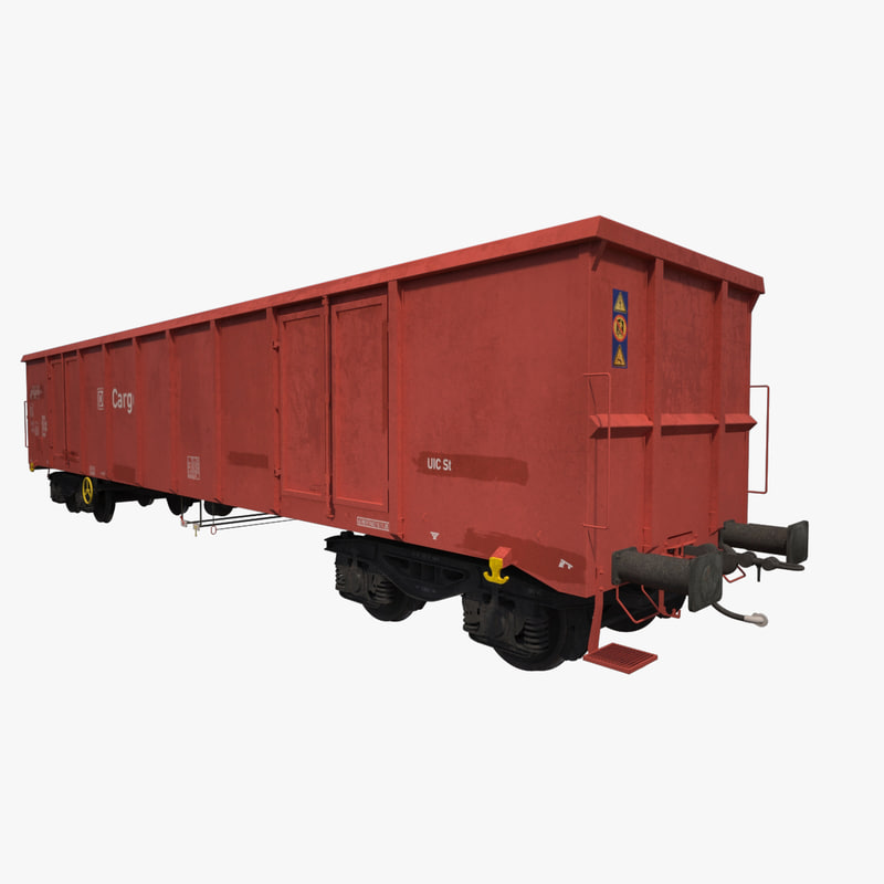 open-top box railcar eanos 3d max