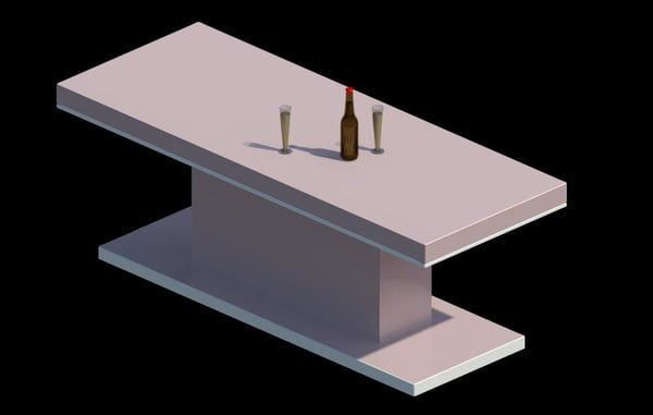 3d model modern dining table 2