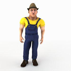 cartoon laborer rigged 3d model