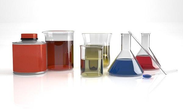 glass flask chemical 3d c4d