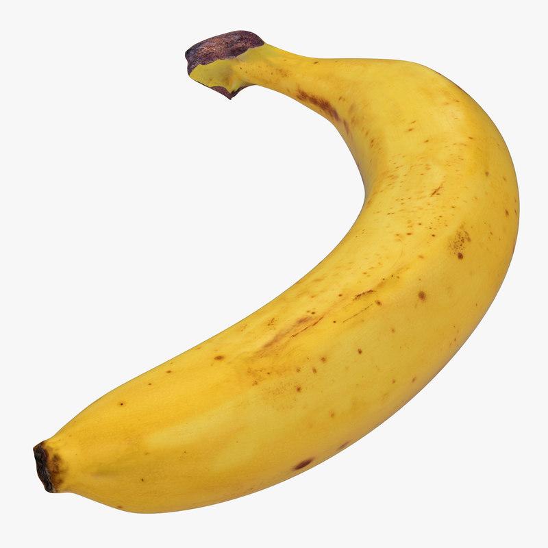 banana modeled realistic obj