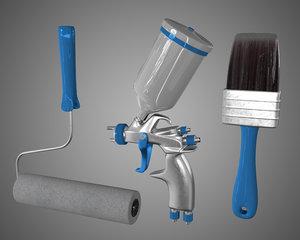 3d model paint tools brush pulvelizatora