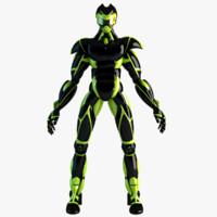 robot sport green 3d model