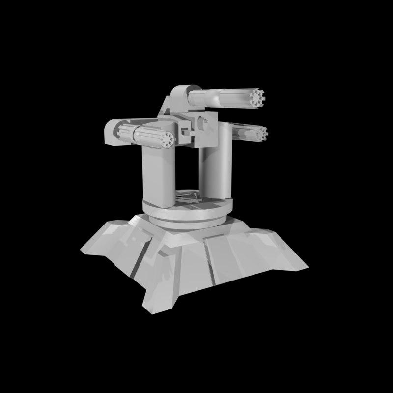 3d model anti-air turret
