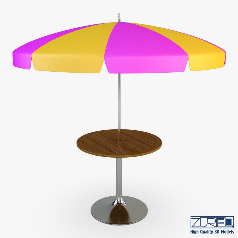 3d patio table umbrella v model