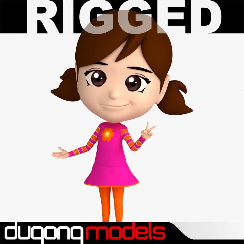 dugm06 rigged cartoon girl 3d model