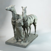 3d sculpture horse-drawn railway