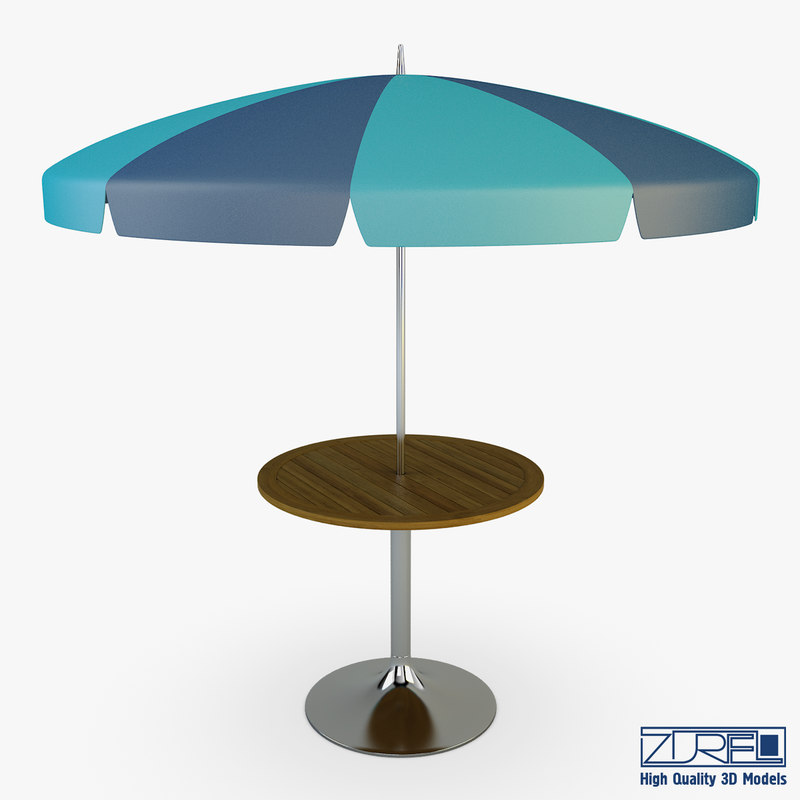 patio table umbrella v 3d obj