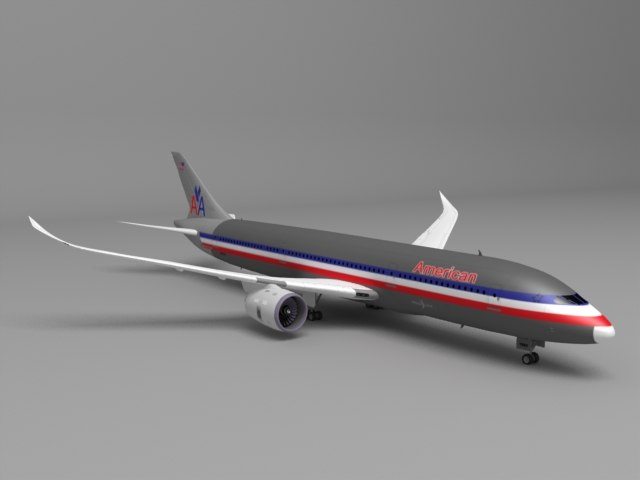3d model 787 american airlines