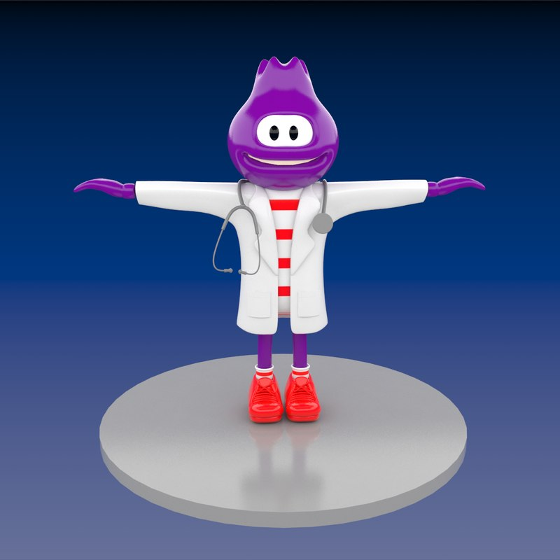 doctor blueberry mascot 3d max