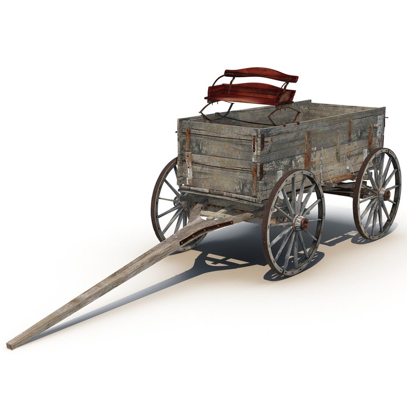old wooden wagon modeled max