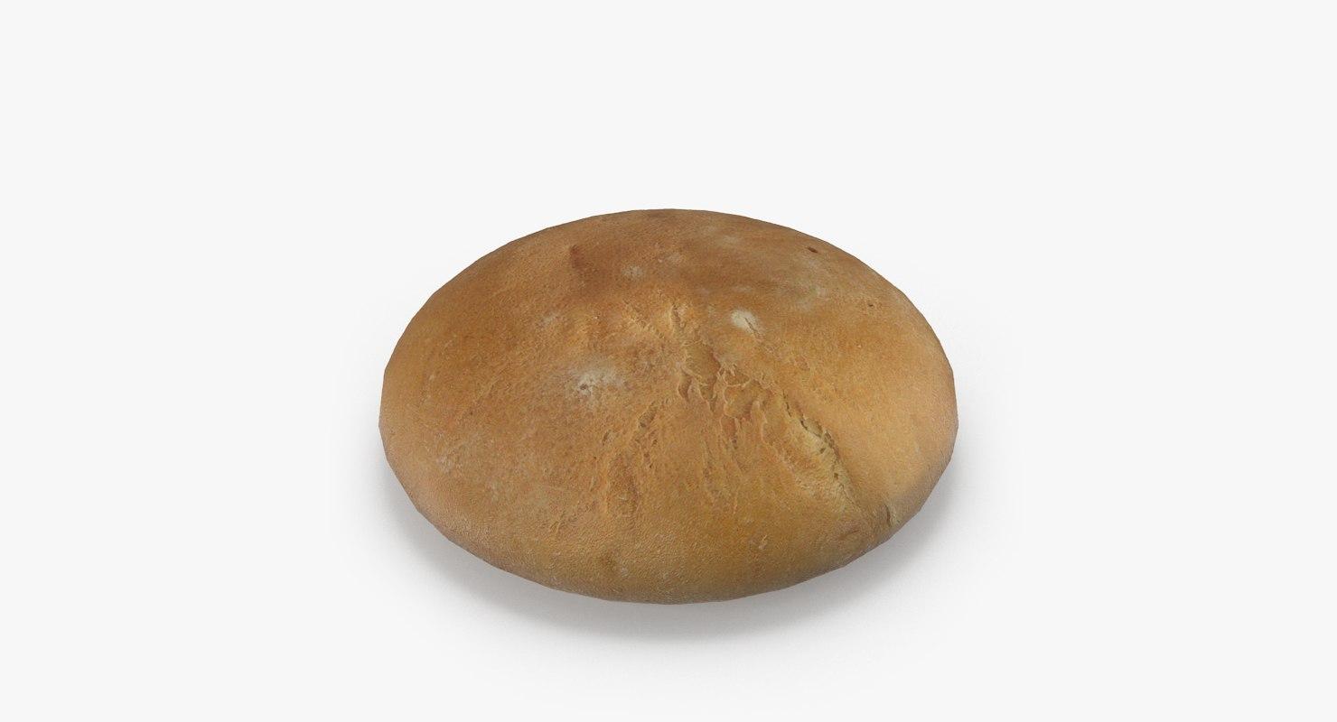 realistic white wheat bread 3ds