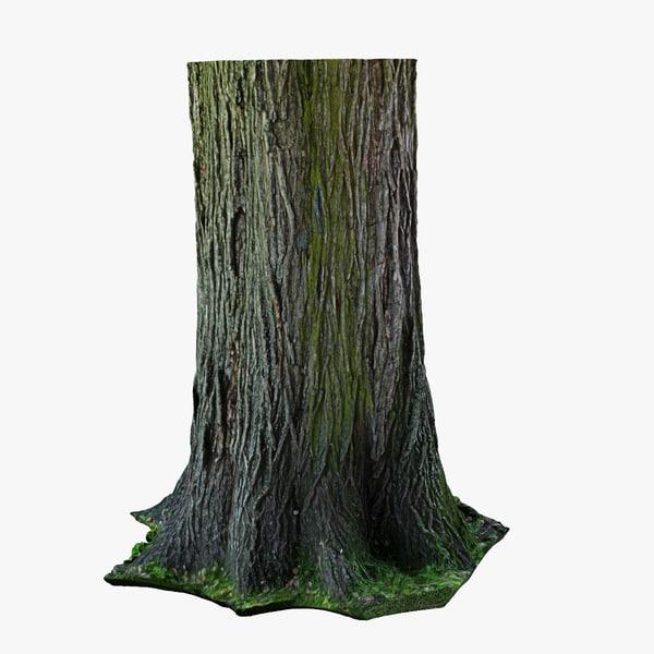 3d realistic wood stump model