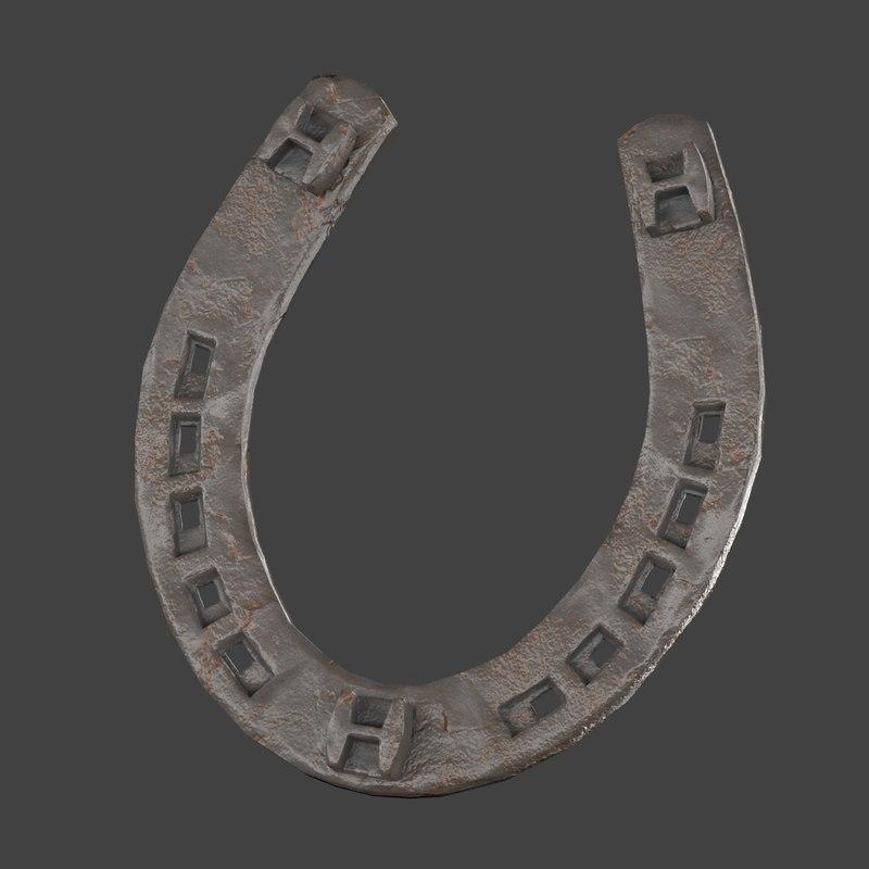 obj low-poly horse shoe
