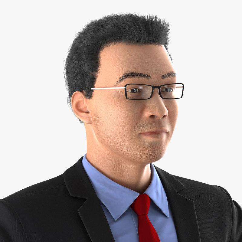asian businessman rigged 3d max