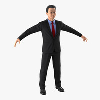 Asian Businessman with Hair 3D Model