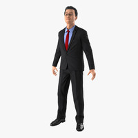3d asian businessman rigged model