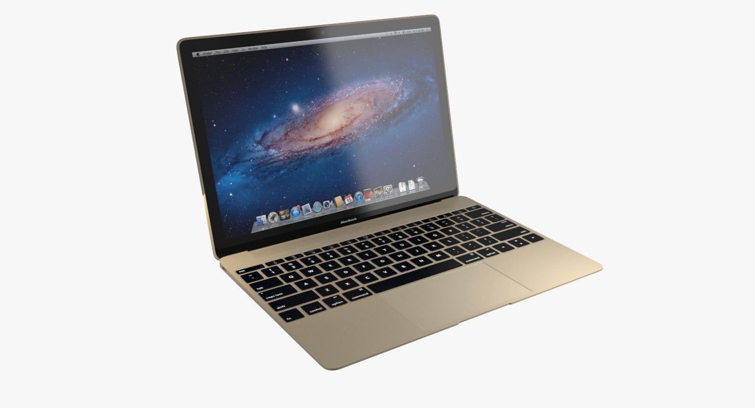3d realistic apple macbook 2015 model