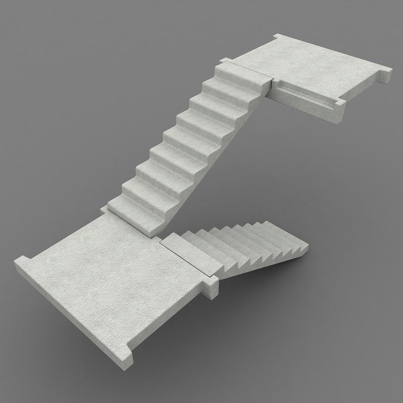 3d concrete staircase 1 model