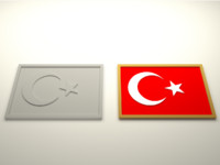 3d model turkish flag
