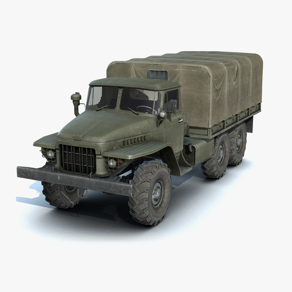 low-poly flatbed ural-375 3d model