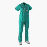 3d model female surgeon dress 7