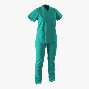 3d female surgeon dress 8 model