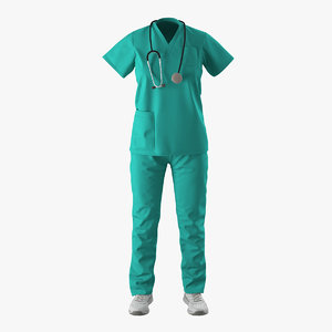 3d female surgeon dress 7 model