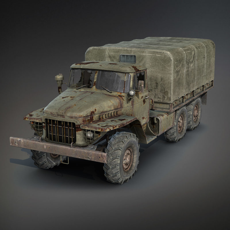low-poly rusty flatbed truck obj