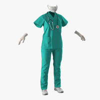female surgeon dress 6 3d c4d